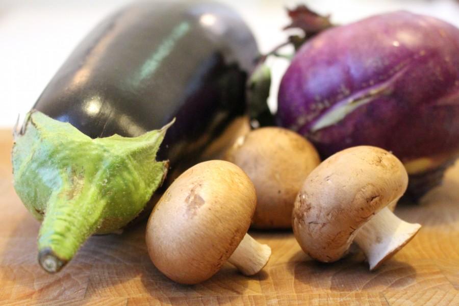 Aubergine, koolrabi en kastanjechampignons